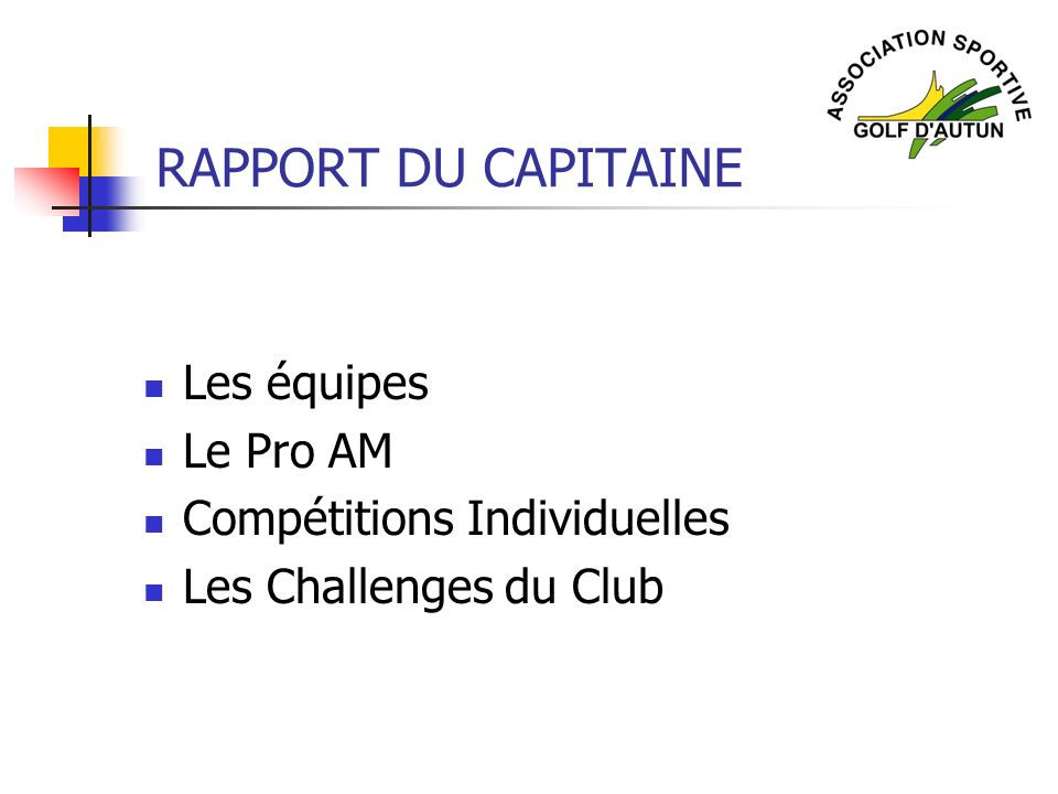 RAPPORT DU CAPITAINE Les équipes Le Pro AM Compétitions Individuelles