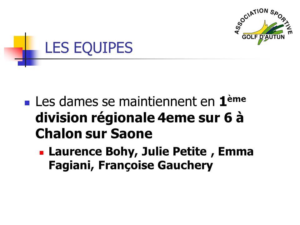 LES EQUIPES Les dames se maintiennent en 1ème division régionale 4eme sur 6 à Chalon sur Saone.