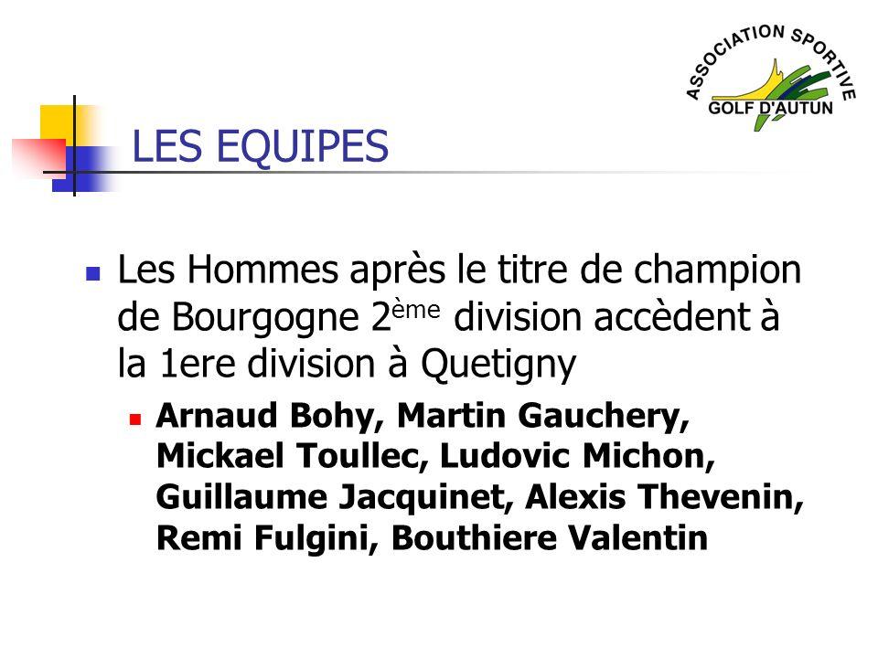 LES EQUIPES Les Hommes après le titre de champion de Bourgogne 2ème division accèdent à la 1ere division à Quetigny.