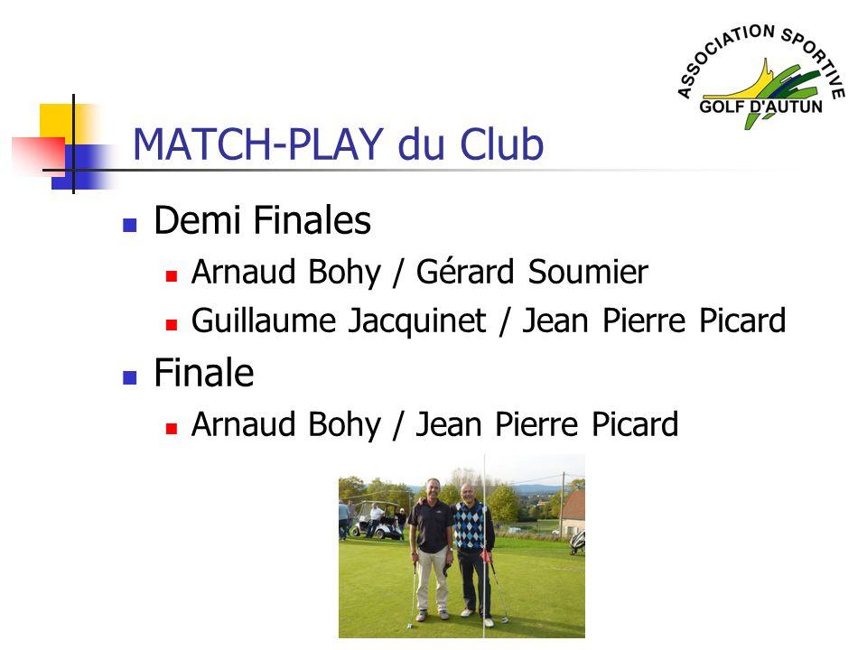 MATCH-PLAY du Club Demi Finales Finale Arnaud Bohy / Gérard Soumier