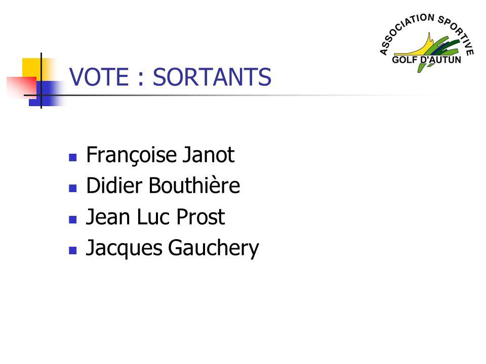 VOTE : SORTANTS Françoise Janot Didier Bouthière Jean Luc Prost