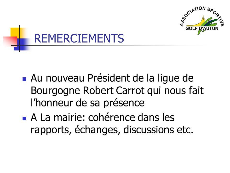 REMERCIEMENTS Au nouveau Président de la ligue de Bourgogne Robert Carrot qui nous fait l'honneur de sa présence.