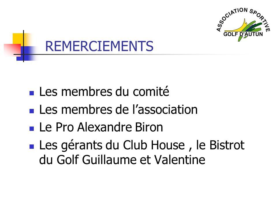 REMERCIEMENTS Les membres du comité Les membres de l'association