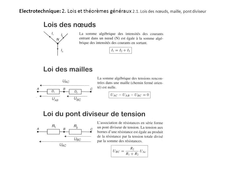 Electrotechnique: 2. Lois et théorèmes généraux 2. 1