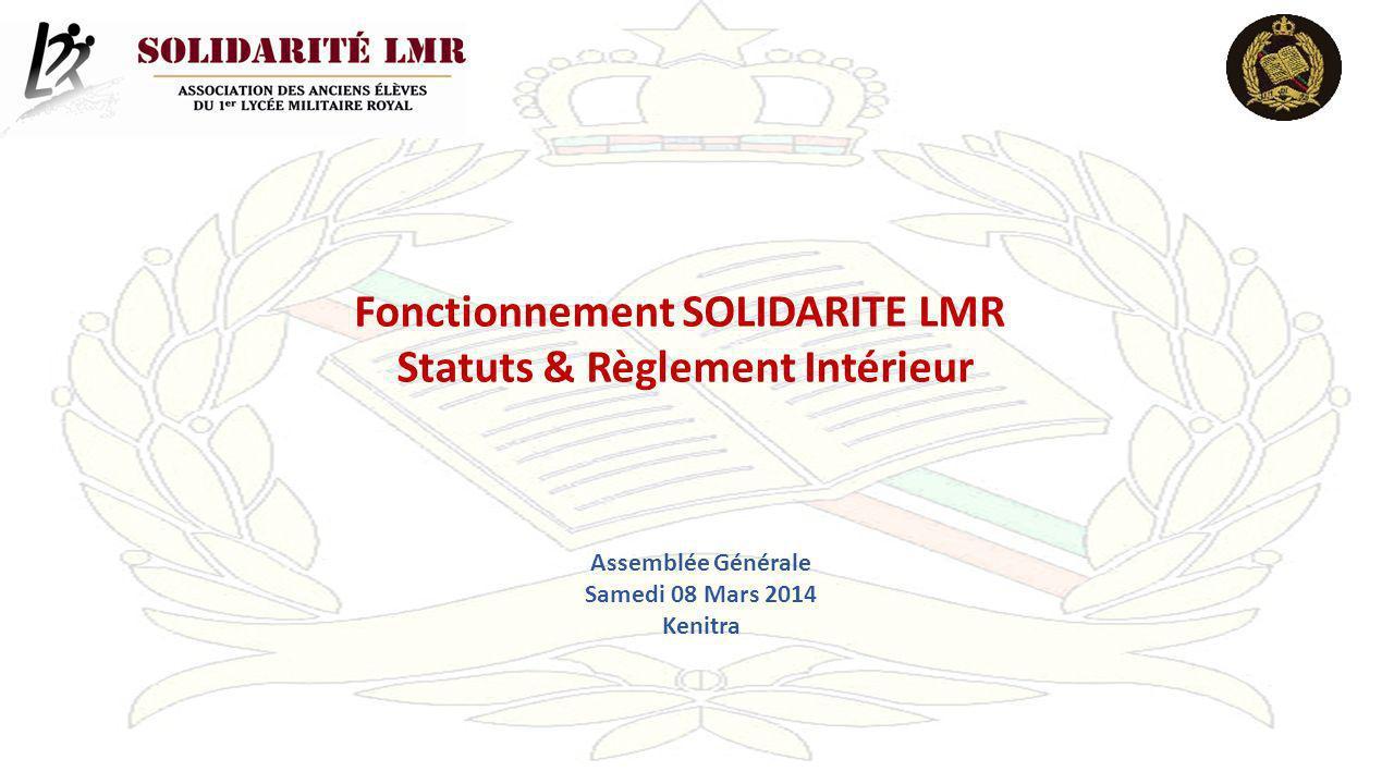 Fonctionnement SOLIDARITE LMR Statuts & Règlement Intérieur