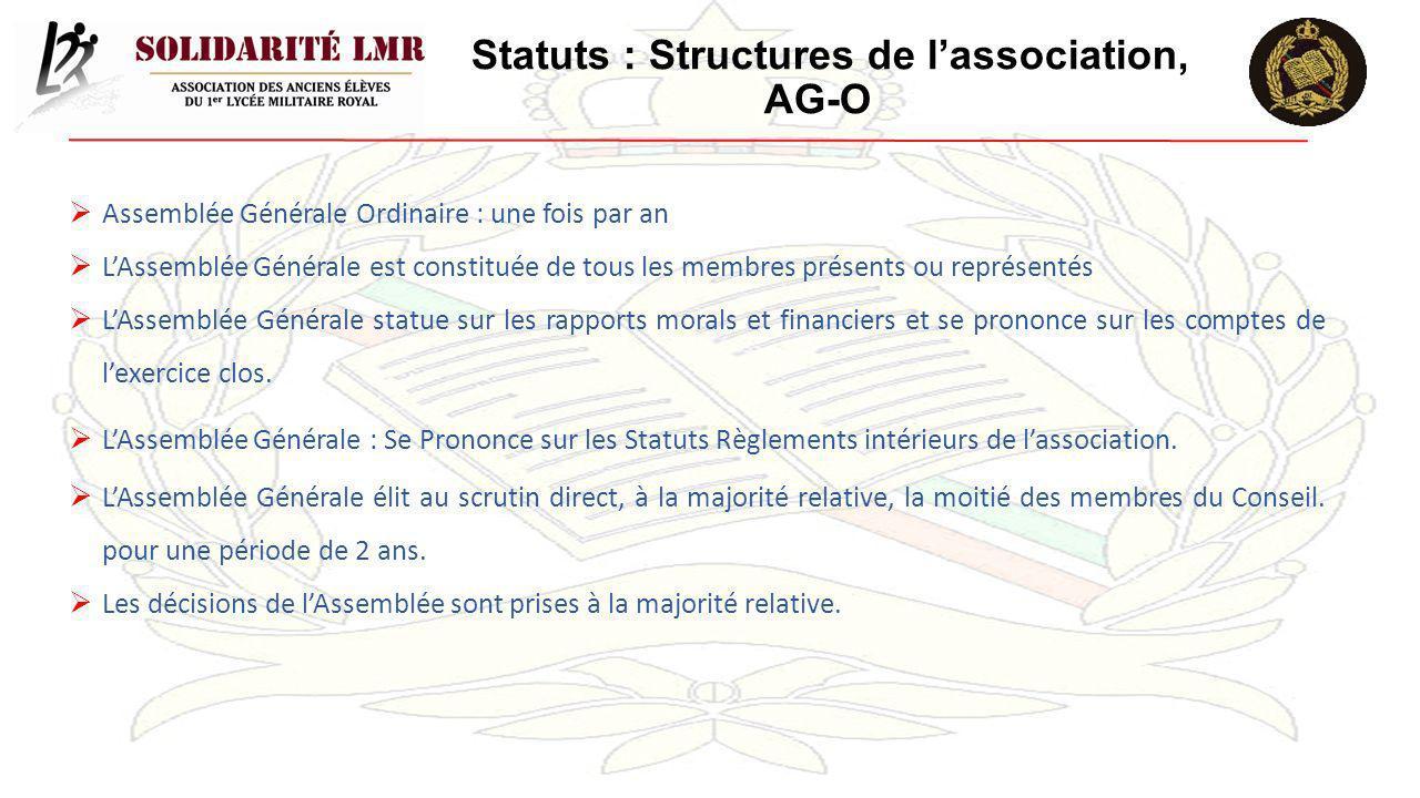 Statuts : Structures de l'association, AG-O