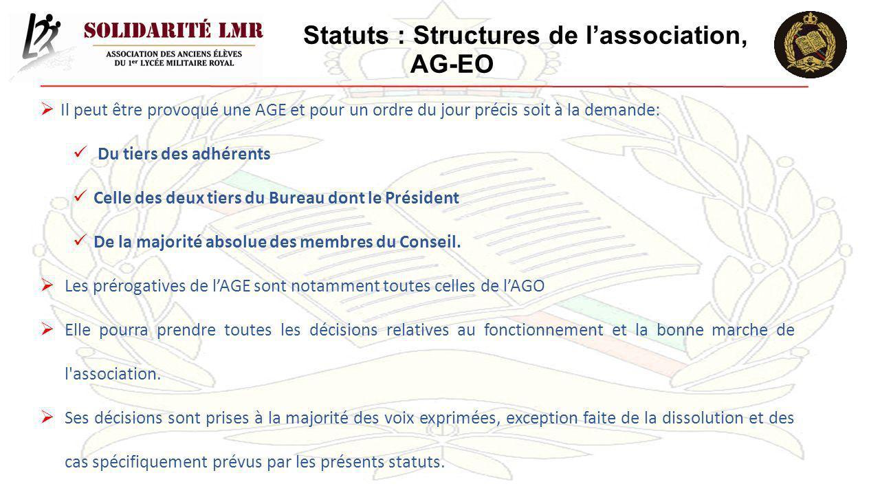 Statuts : Structures de l'association, AG-EO