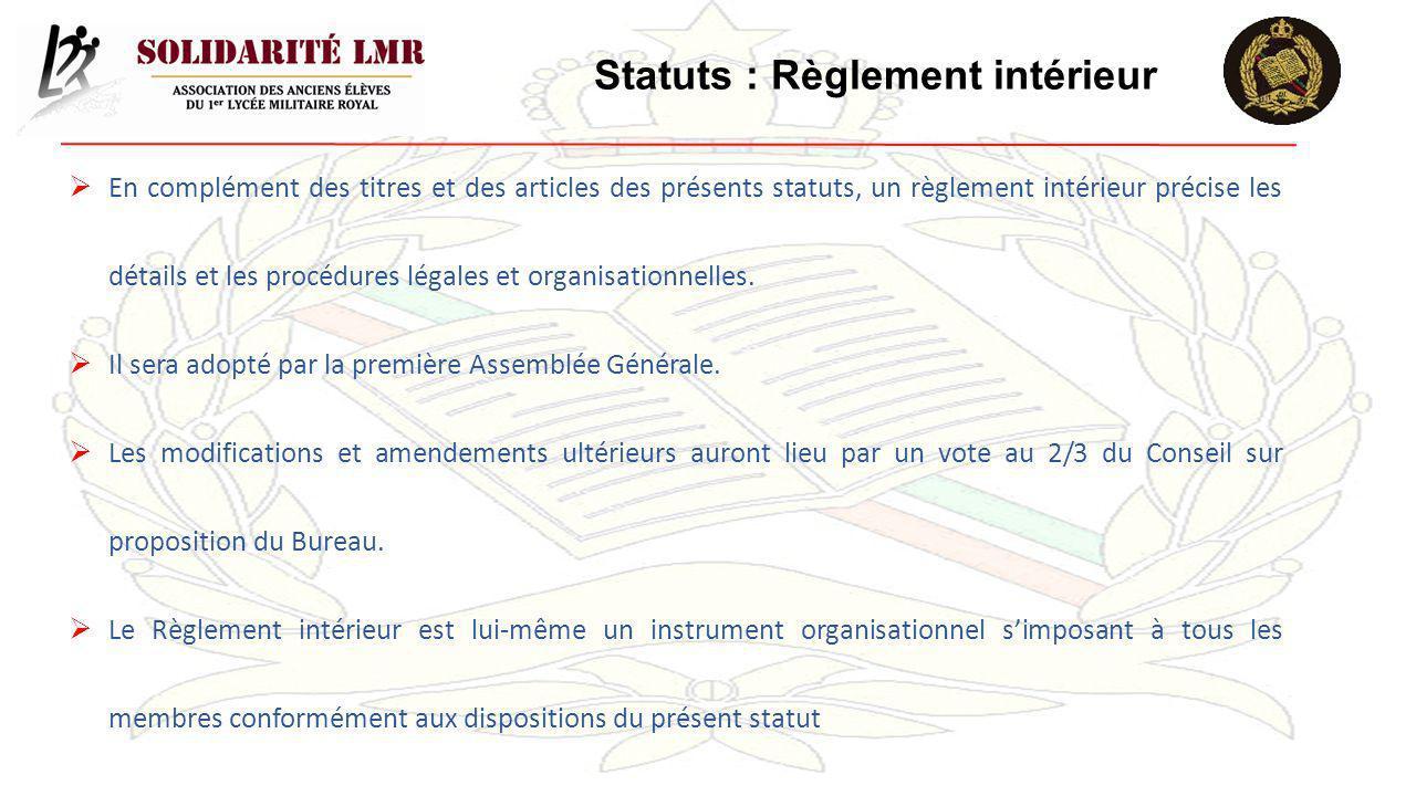 Statuts : Règlement intérieur