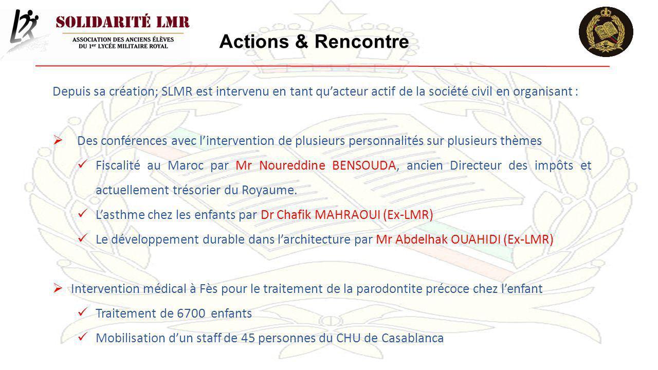 Actions & Rencontre Depuis sa création; SLMR est intervenu en tant qu'acteur actif de la société civil en organisant :