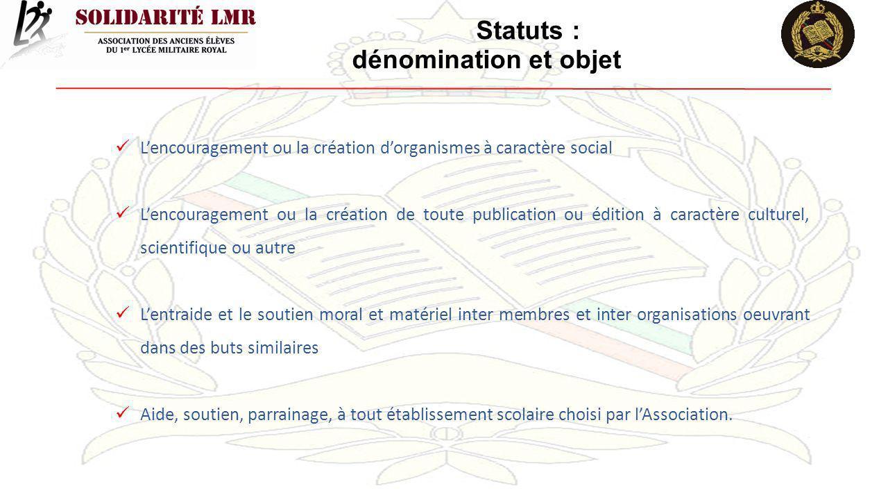 Statuts : dénomination et objet