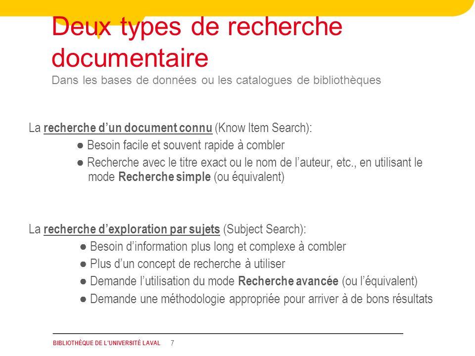 Deux types de recherche documentaire Dans les bases de données ou les catalogues de bibliothèques
