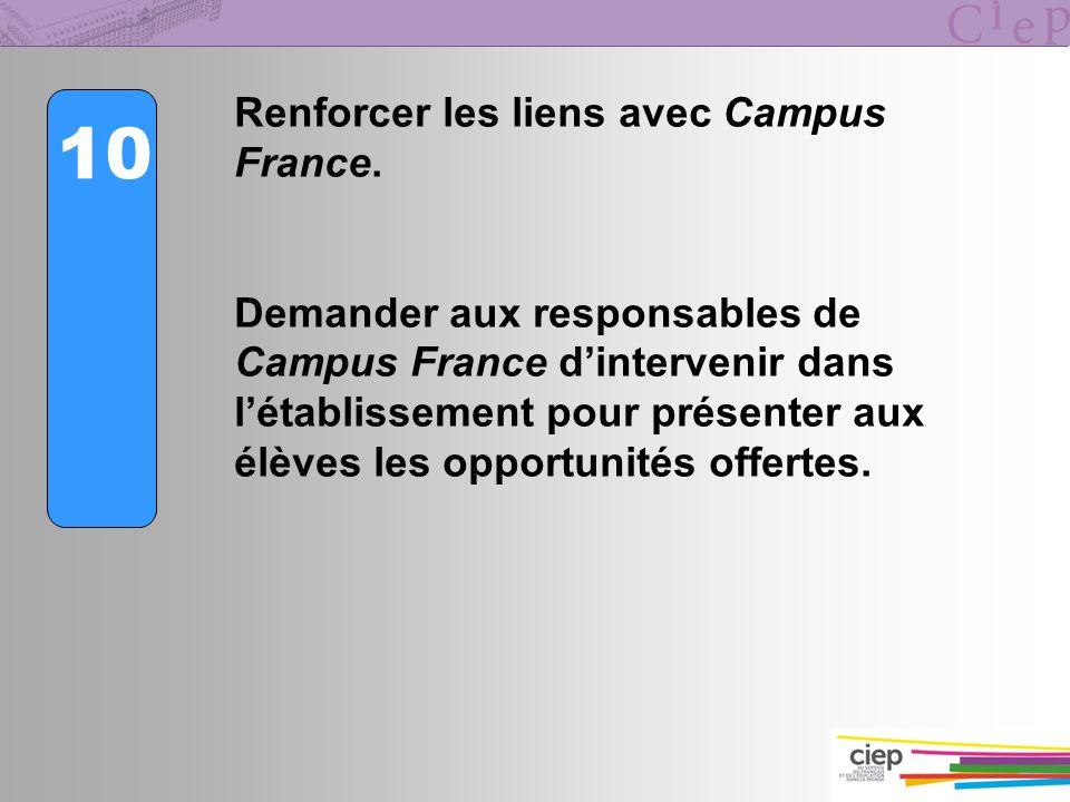 10 Renforcer les liens avec Campus France.