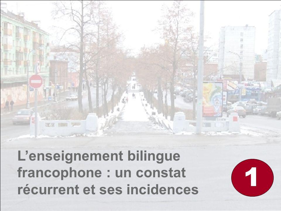 L'enseignement bilingue francophone : un constat récurrent et ses incidences