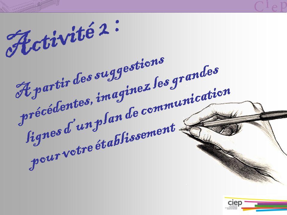 Activité 2 : A partir des suggestions précédentes, imaginez les grandes lignes d'un plan de communication pour votre établissement.