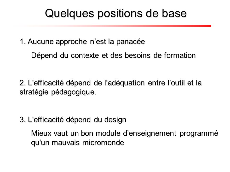 Quelques positions de base