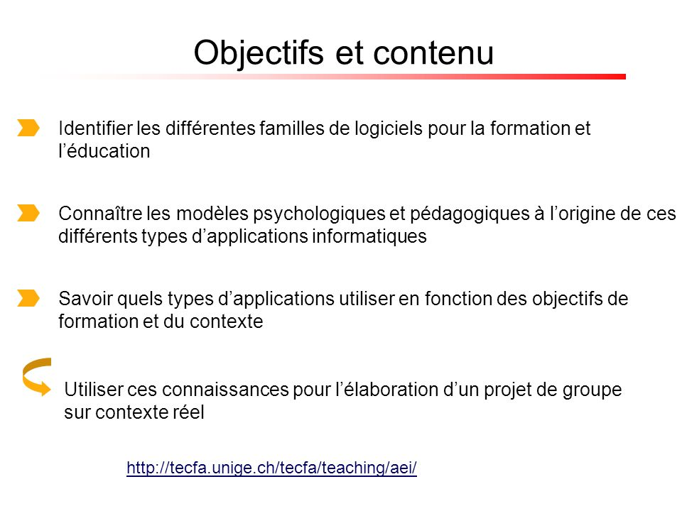Objectifs et contenu Identifier les différentes familles de logiciels pour la formation et l'éducation.