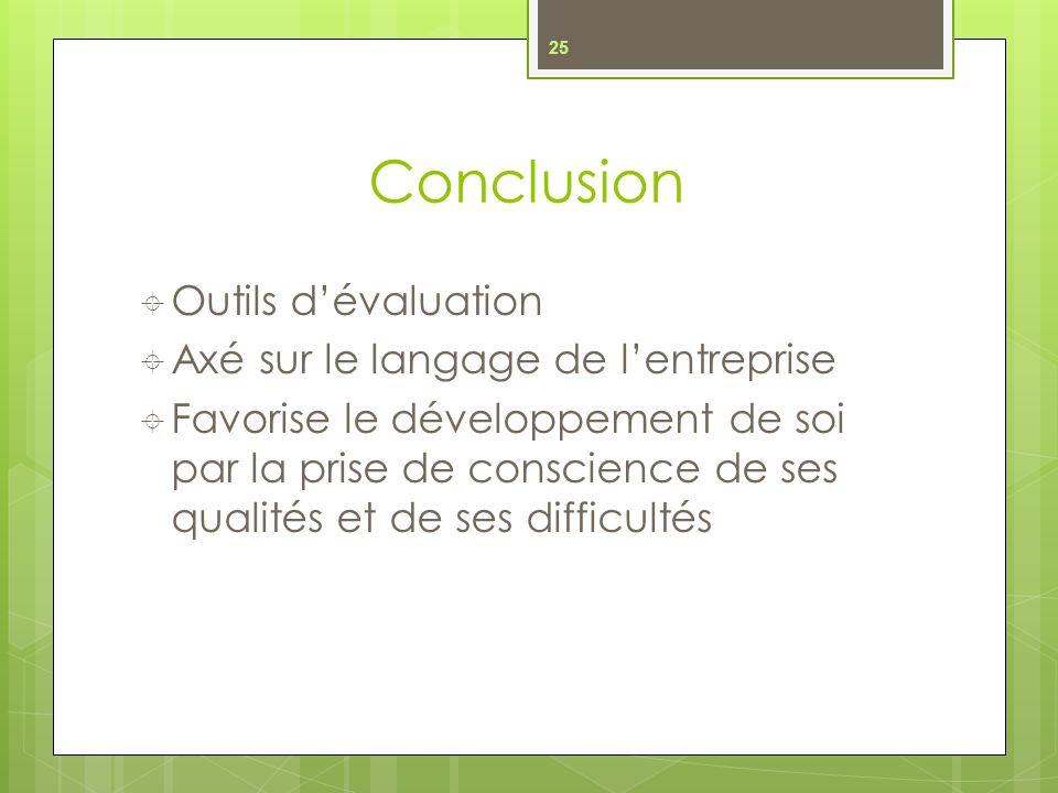 Conclusion Outils d'évaluation Axé sur le langage de l'entreprise
