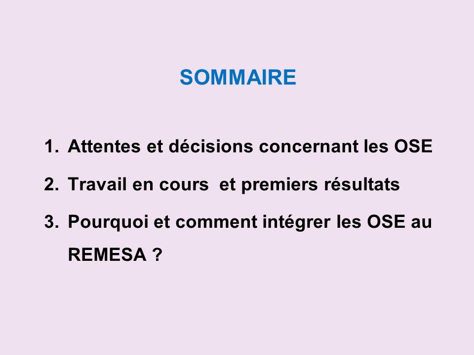 SOMMAIRE Attentes et décisions concernant les OSE