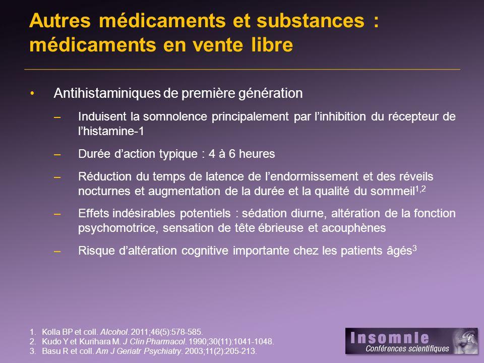 Autres médicaments et substances : médicaments en vente libre