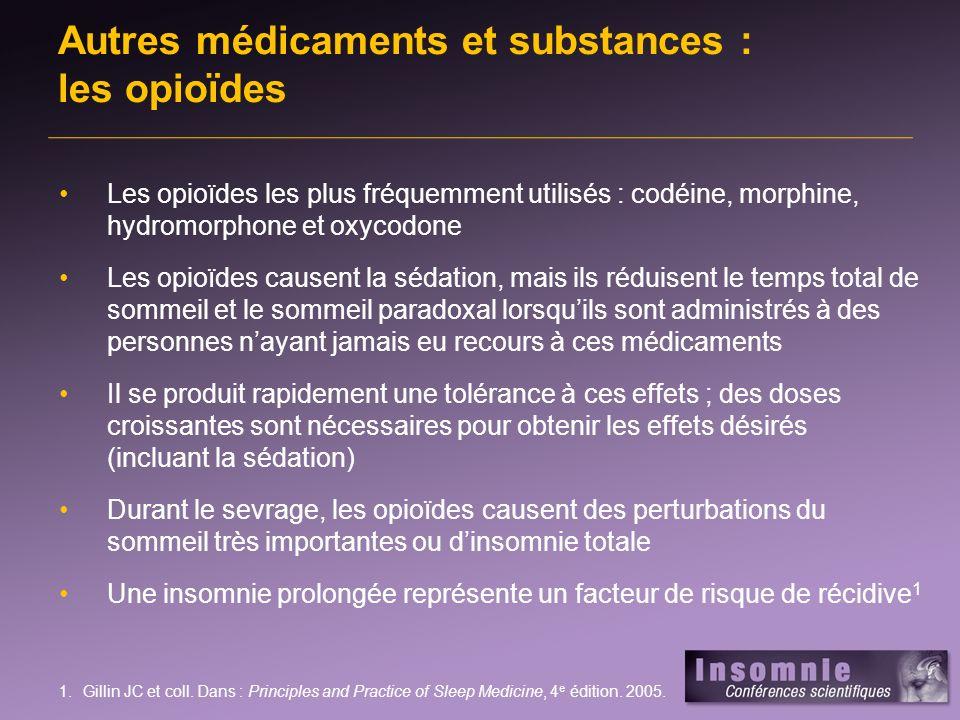Autres médicaments et substances : les opioïdes