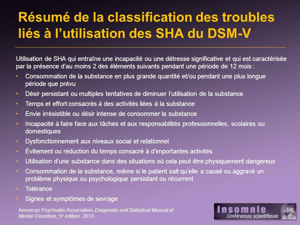 Résumé de la classification des troubles liés à l'utilisation des SHA du DSM-V