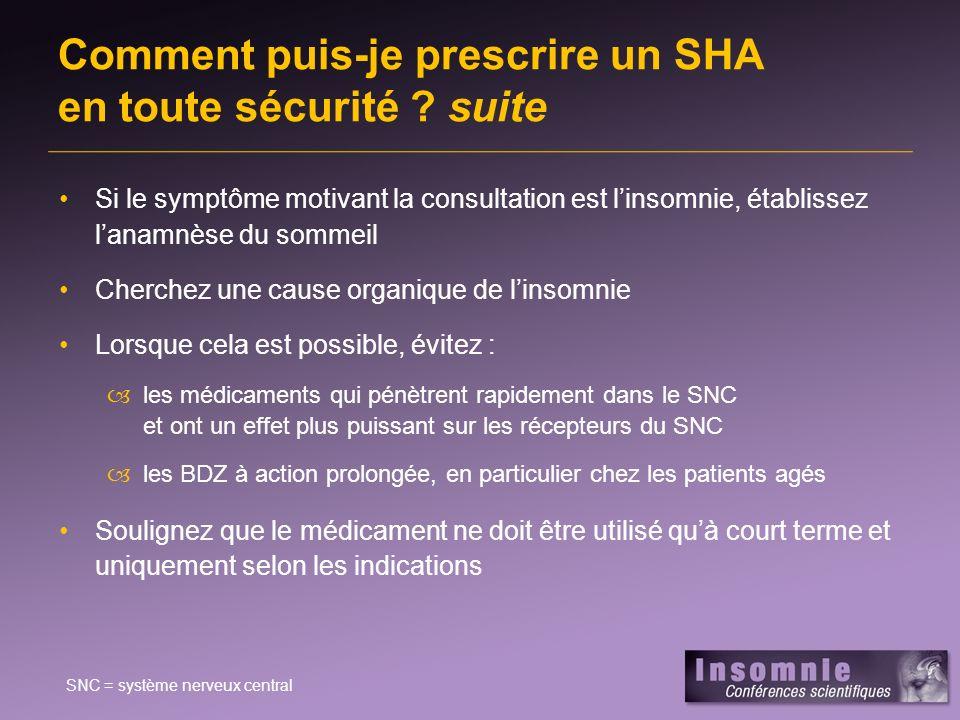 Comment puis-je prescrire un SHA en toute sécurité suite