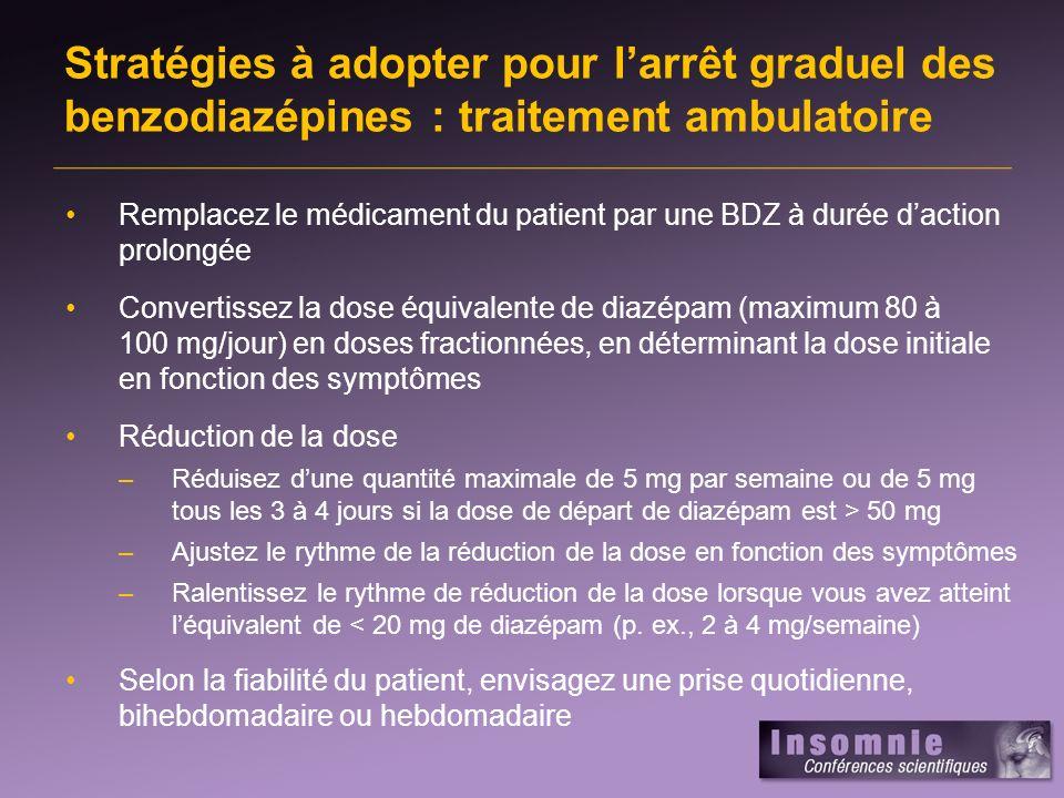 Stratégies à adopter pour l'arrêt graduel des benzodiazépines : traitement ambulatoire