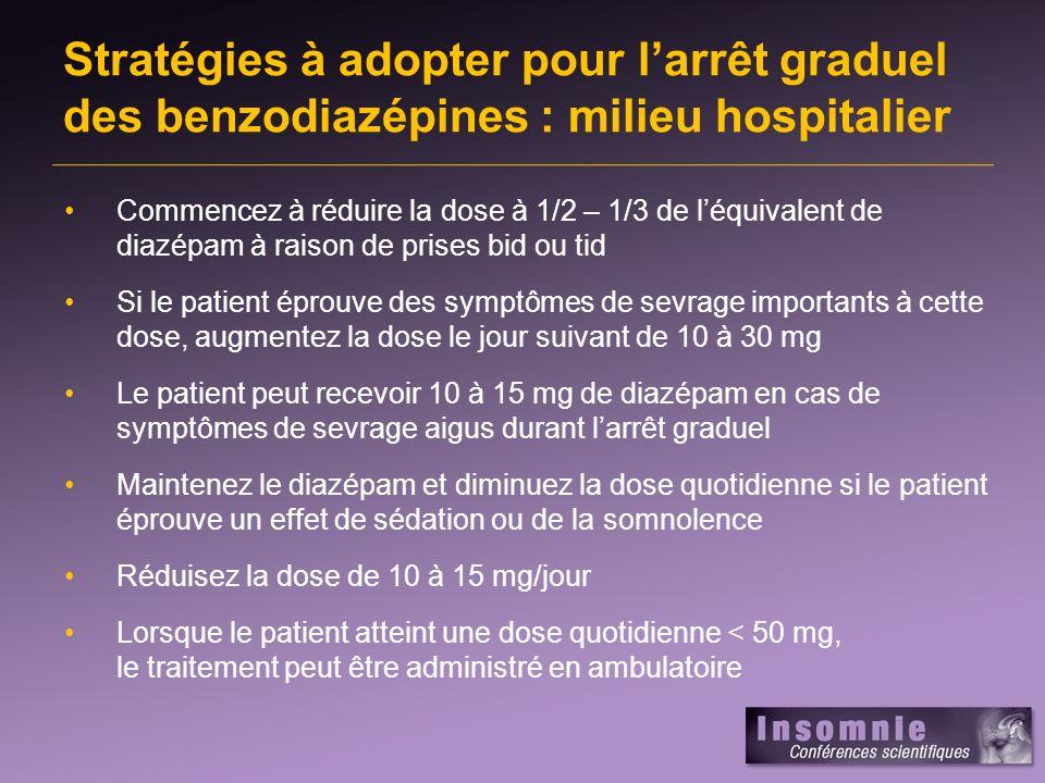 Stratégies à adopter pour l'arrêt graduel des benzodiazépines : milieu hospitalier
