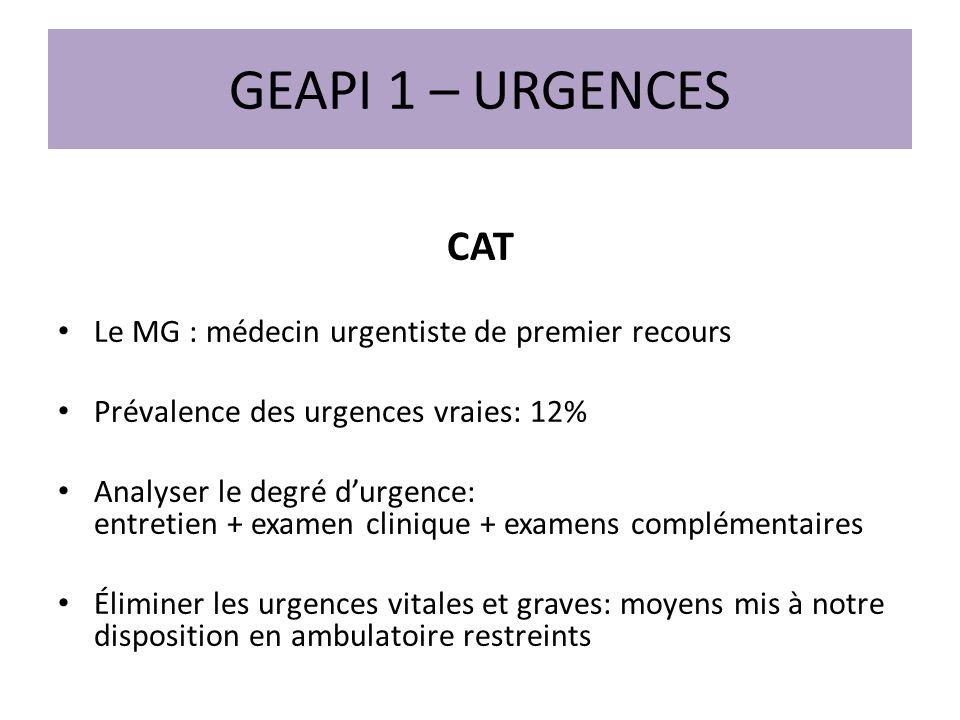 GEAPI 1 – URGENCES CAT Le MG : médecin urgentiste de premier recours