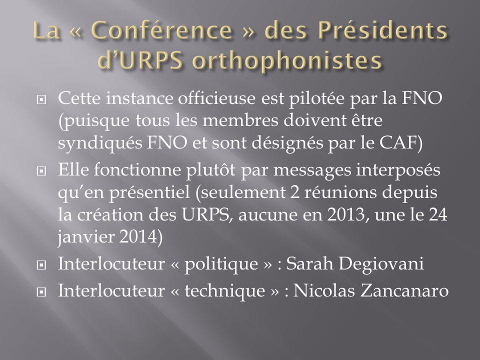 La « Conférence » des Présidents d'URPS orthophonistes