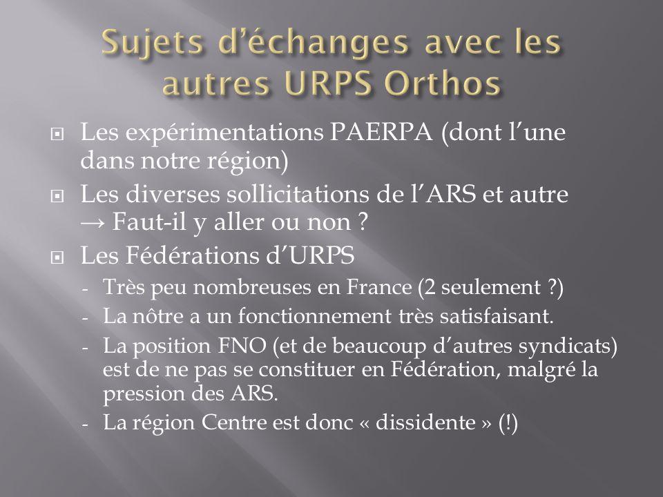 Sujets d'échanges avec les autres URPS Orthos