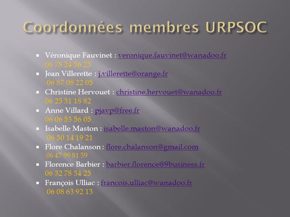 Coordonnées membres URPSOC