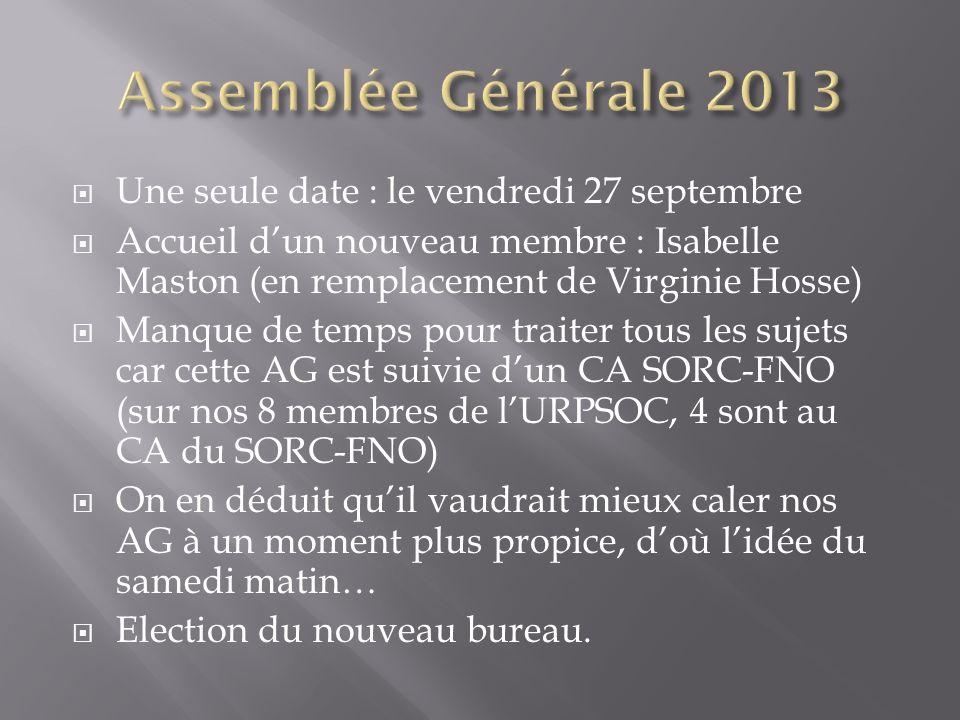 Assemblée Générale 2013 Une seule date : le vendredi 27 septembre
