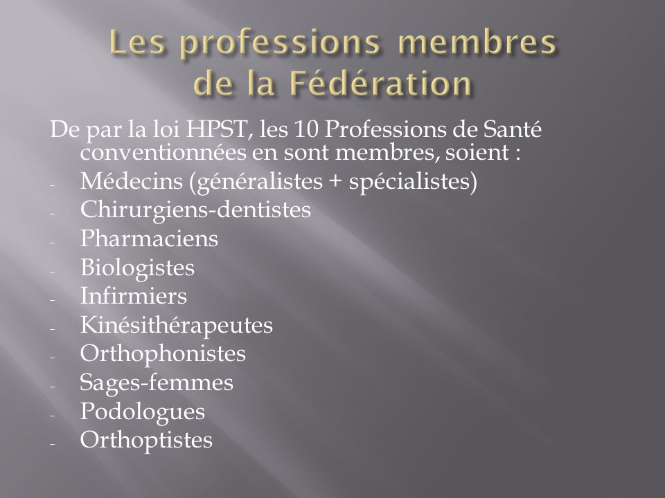 Les professions membres de la Fédération