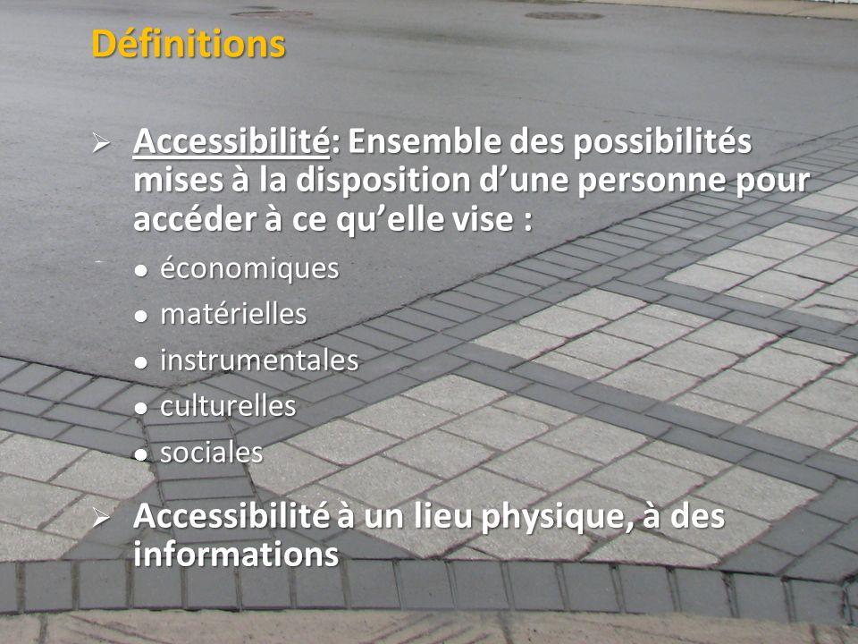 Définitions Accessibilité: Ensemble des possibilités mises à la disposition d'une personne pour accéder à ce qu'elle vise :