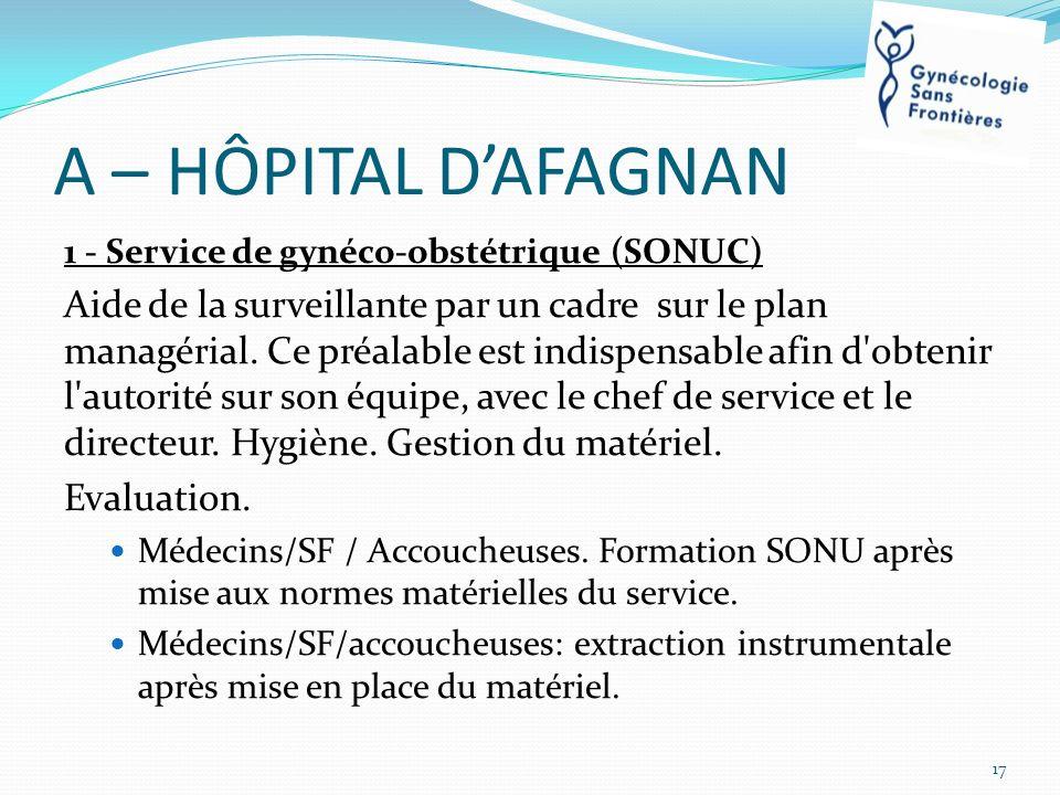 A – HÔPITAL D'AFAGNAN 1 - Service de gynéco-obstétrique (SONUC)
