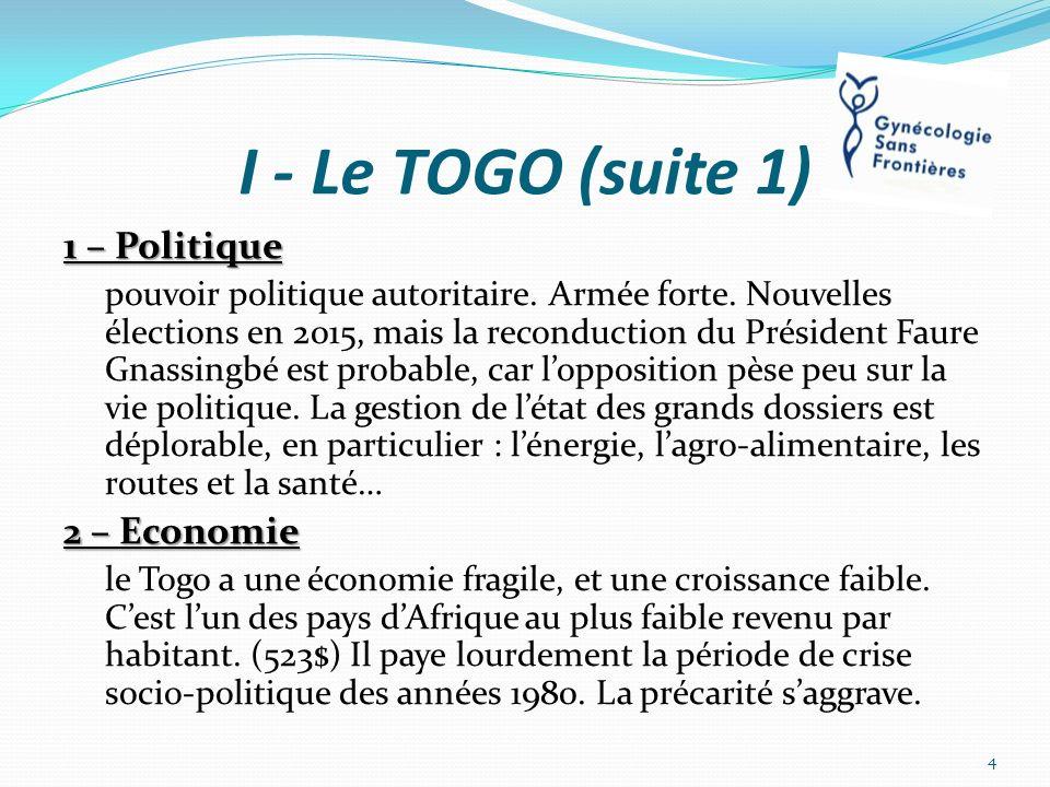 I - Le TOGO (suite 1) 1 – Politique 2 – Economie