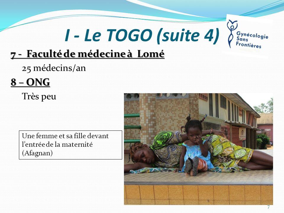 I - Le TOGO (suite 4) 7 - Faculté de médecine à Lomé 8 – ONG