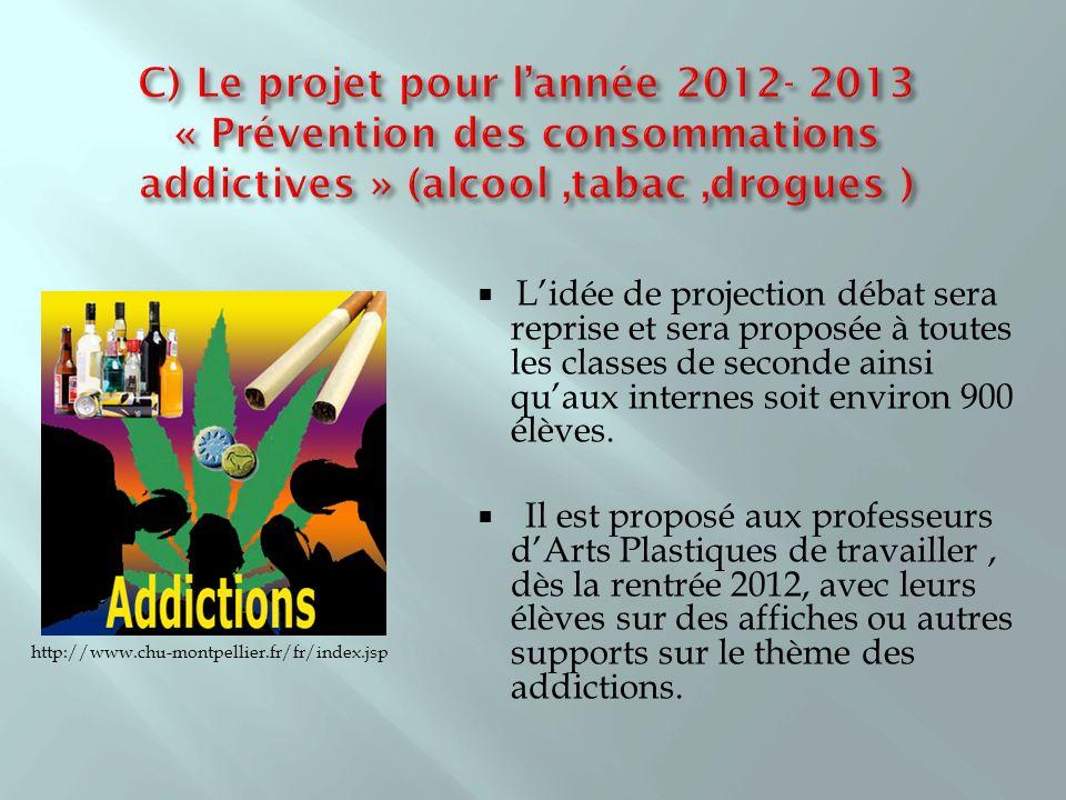 C) Le projet pour l'année 2012- 2013 « Prévention des consommations addictives » (alcool ,tabac ,drogues )