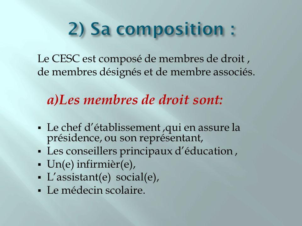 2) Sa composition : Le CESC est composé de membres de droit ,