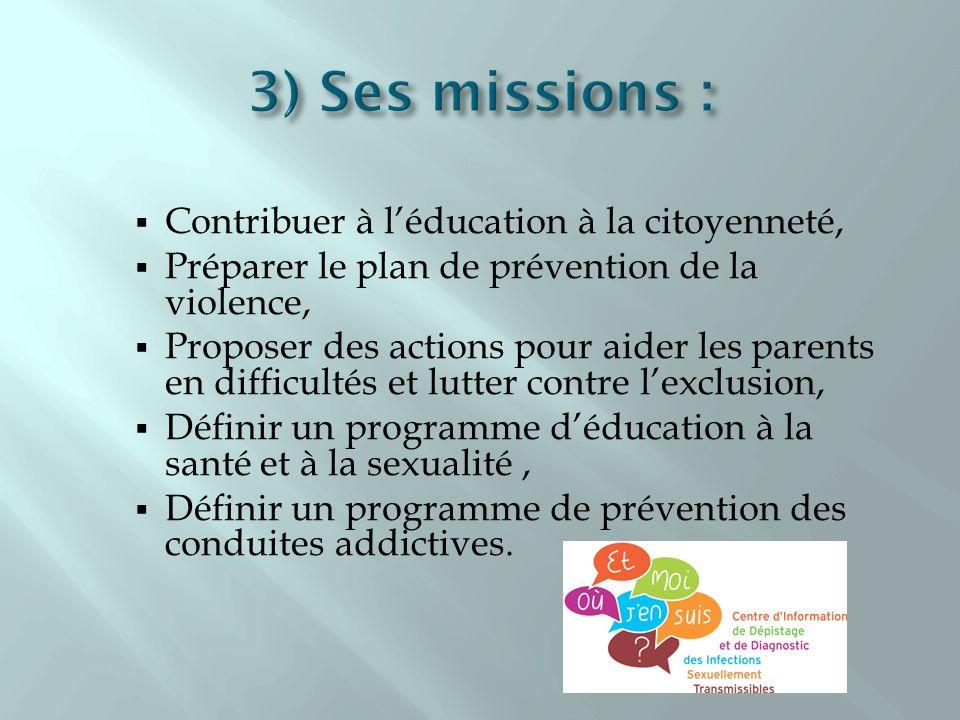 3) Ses missions : Contribuer à l'éducation à la citoyenneté,