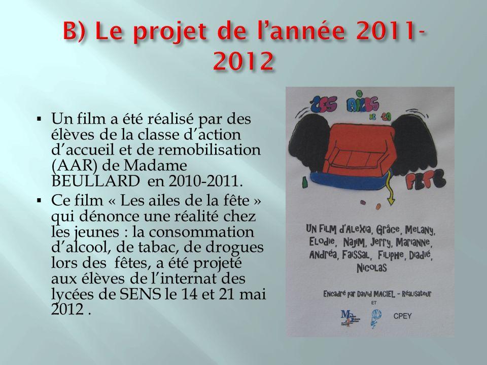 B) Le projet de l'année 2011- 2012