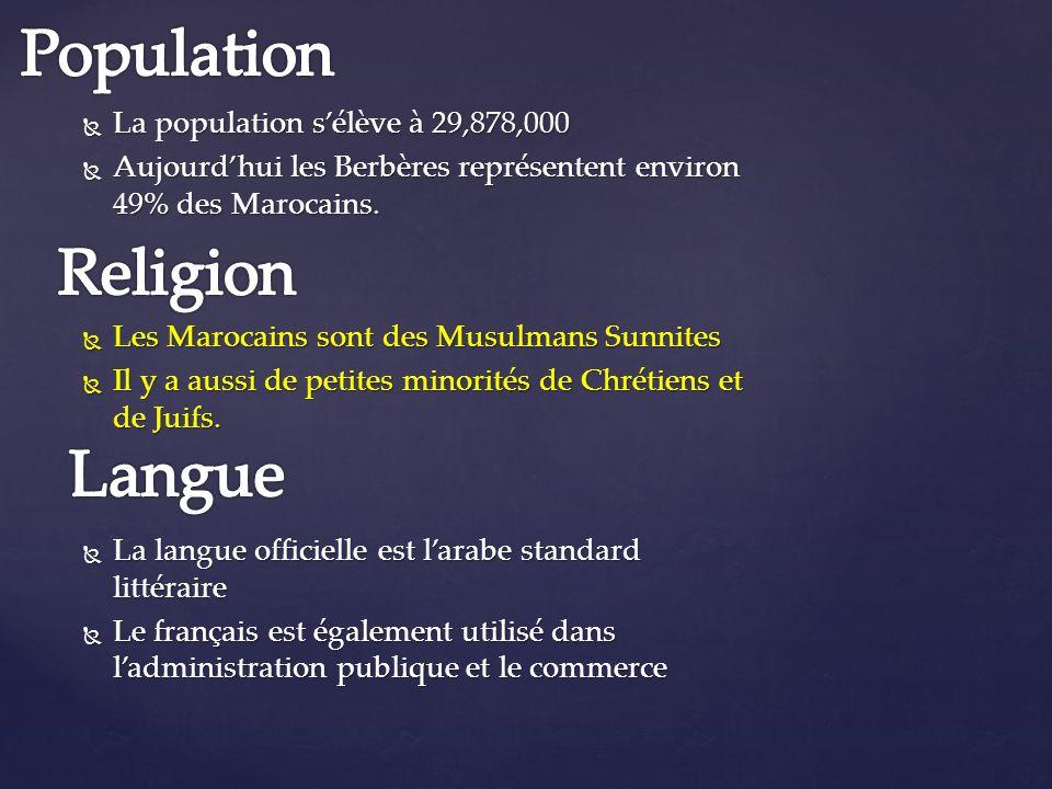 Population Religion Langue La population s'élève à 29,878,000