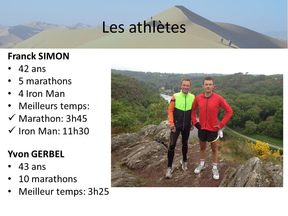 Les athlètes Franck SIMON 42 ans 5 marathons 4 Iron Man