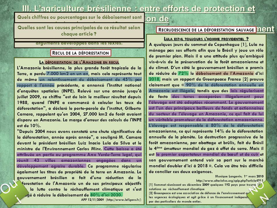III. L'agriculture brésilienne : entre efforts de protection et dégradation de