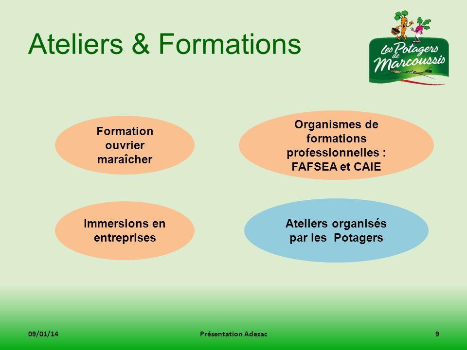 Ateliers & Formations Organismes de formations professionnelles : FAFSEA et CAIE. Formation ouvrier maraîcher.