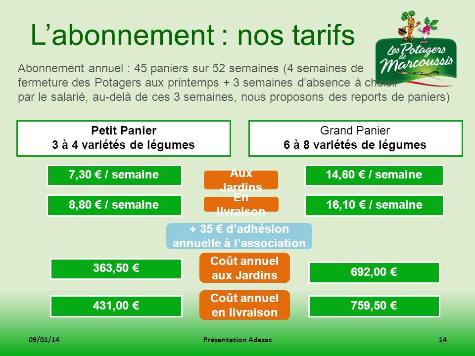 L'abonnement : nos tarifs
