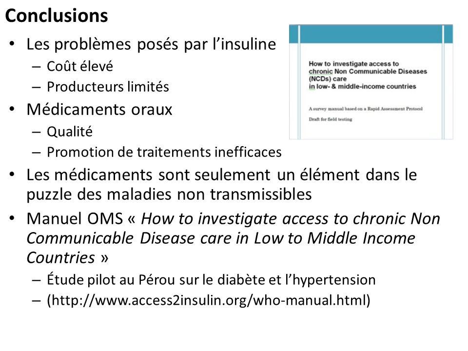 Conclusions Les problèmes posés par l'insuline Médicaments oraux