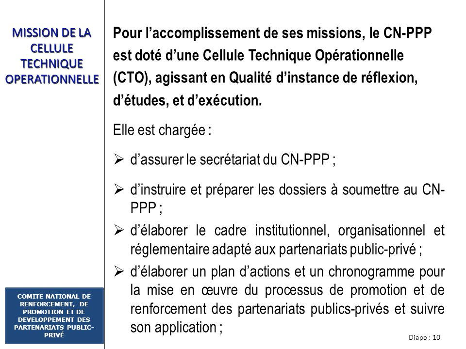 MISSION DE LA CELLULE TECHNIQUE OPERATIONNELLE