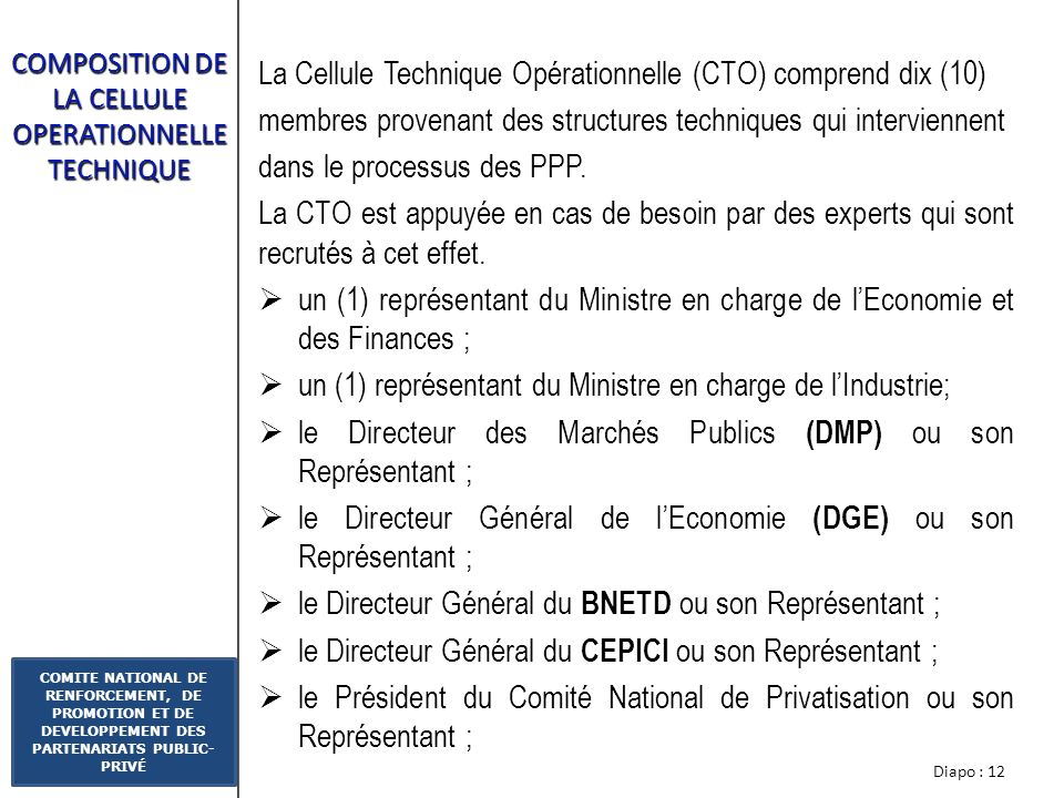 COMPOSITION DE LA CELLULE OPERATIONNELLE TECHNIQUE